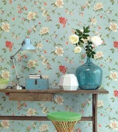 Eijffinger Lavender Dream 322326 blauw groen roze beige bloemen behang