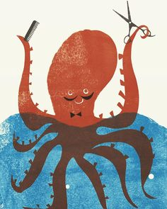 Mr Barber  #illustration  #book #childrensbook #octopus #illustrator #fun #kyokoNemoto #drawing #painting #kidsbook #picture