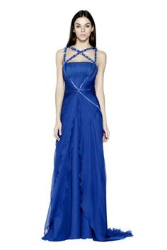 Cris-cross electric blue gown