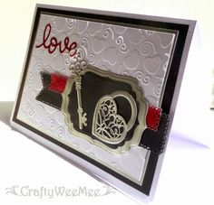 "Cardstock: Image -  Supersmooth White PayPer Box - Matt Silver & Red Metallic Black Cat - Black  Embossing Folder: Spellbinders' M-Bossabilities - Hearts 5 x 7""  Dies: Spellbinders - Labels 4 Spellbinders - Heart Locket Cheery Lynn  Designs - Pierced Banners"