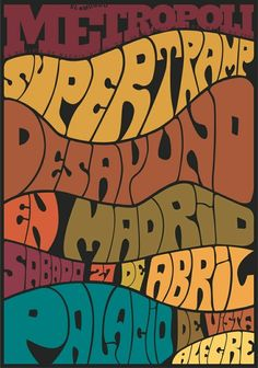 Colours and flow - Retro Typography Love, Typographic Design, Vintage Typography, Typography Letters, Typography Poster, Graphic Design Typography, Psychedelic Typography, Psychedelic Art, Poster Art