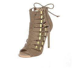 ​Lace up side detail Open rounded toe 11cm heel