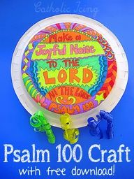 """Make a joyful noise to the Lord all the lands"" Psalm 100:1 craft. Free to print, fun and easy to make!"