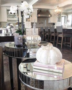 Pumpkins! #pumkin #pumpkindecor #hellofall #mirror #mirrortable #mirroredtable #nestingtables #readyforfall #effieltower #pumpkins #whitepumkin #orchid #whiteorchid #grayandwhite #woodfloors #home #decor #livingspace #livingroom #homedecor #homedesign #countryliving #perfection #interior #interiordesign #getinspired #decoratingideas #beautifulliving