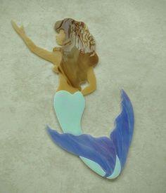 MERMAID Precut Stained Glass Art Mosaic Inlay Seascape Beach Tile Garden Stone