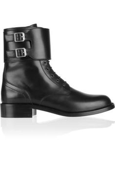 Shop on-sale Patti leather army boots. Browse other discount designer Flat Boots & more luxury fashion pieces at THE OUTNET Black Combat Boots, Black Ankle Booties, Lace Up Booties, Saint Laurent Schuhe, Saint Laurent Shoes, Leather Lace Up Boots, Leather Booties, Black Leather, Real Leather
