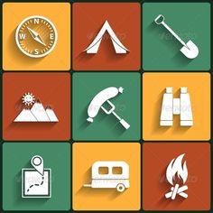 Camping Flat Vector Icons Set
