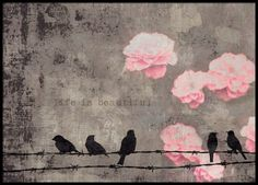 Poster with birds on barbed wire and the text 'Life is beautiful'. It has warm hues of beige, brown, gray and pink. This beautiful print looks great in a black frame and fits in most rooms. www.desenio.com