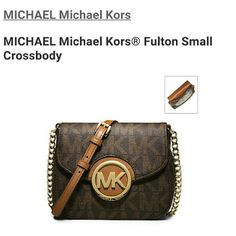 Michael Kors small Fulton crossbody Small crossbody bag in brown logo PVC. Anchored with the iconic MK monogram magnetic snap closure. Gold-tone hardware. back slip pocket Exterior: one outer pocket. Interior: one open pocket. 100% polyester lining. Top Handle: 23 inch. Dimensions: 6.5 inches x 5.5 inches x 2.25 inches.    NEW WITH TAG IN ORIGINAL PACKAGING  MSRP $148  TV $148 Michael Kors Bags Crossbody Bags