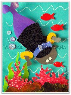 African American mermaid Paper sculpture by JackieGuttusoDesigns, $50.00