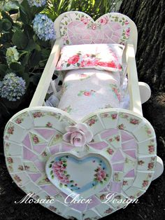 Mosaic Doll Crib by Mosaic Chick Design https://www.facebook.com/pages/Mosaic-Chick-Design/216734331705852?ref=hl