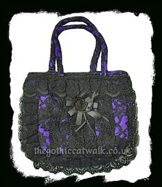 ebb7db6c9c Purple   Black Lace Gothic Handbag - Rose Detail