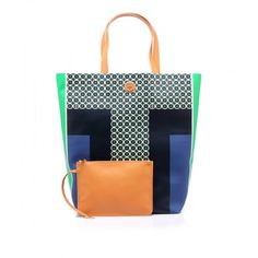 Shiny fabric shopping, printed fronts, with small geometric two colors designs by @Tory Burch