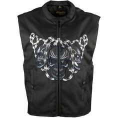 This men's textile vest features an embroidered skull with razor wire on the front and back. The embroidered portions are made reflective so it may be seen better while riding at dusk or dark. The vest is complimented with a Euro collar and a zippered front. Perfect for the skull enthusiast or bike rider. Motorcycle Leather, Motorcycle Style, Biker Vest, Bike Rider, Dusk, Leather Men, Compliments, Skull, Wire