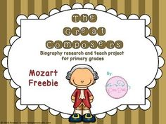 Freebie: The Great Composers- biography research and teach project (Mozart) Music Word Walls, Music Worksheets, School Projects, School Ideas, Cooperative Learning, Piano Teaching, Music Activities, Elementary Music, Music Classroom