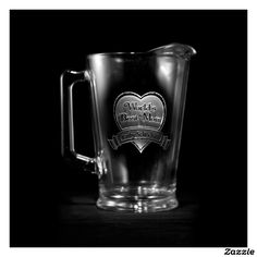 World's Best Mom Personalized Beer Pitcher,made by Crystal Imagery Inc.