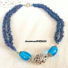Double Strand Blue Statement Necklace Handmade by AmoonartDESIGN