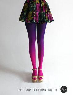 Meia-calça colorida degradê
