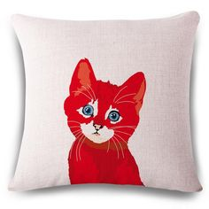 lovely smart red black cat Cushion(No Filler) Polyester Family affection Sofa Car Seat family Home Decorative Throw Pillow
