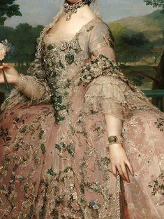 Anton Raphael Mengs, Maria Luisa of Parma (detail) 1765 Renaissance Kunst, Renaissance Paintings, Marie Antoinette, Lace Painting, Dress Painting, Rococo Painting, Rococo Fashion, 18th Century Fashion, 19th Century