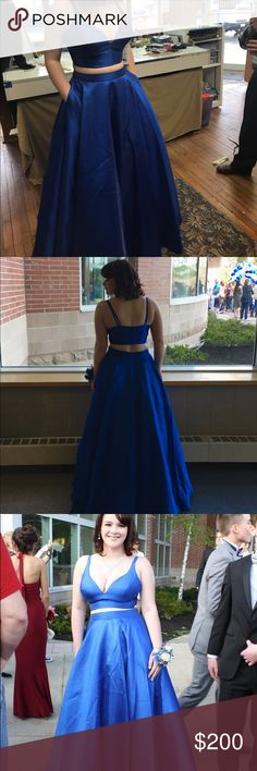 Sherri Hill 50894 Two Piece Prom Dress Beautiful cobalt blue taffeta two piece ball gown. Worn once. In perfect condition. Sherri Hill Dresses Prom