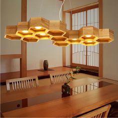 Nodic ikea creativo del arte lámpara de techo de madera contrajo caja abeja colgante de madera maciza de café decoración de la luz en Luces Colgantes de Iluminación en AliExpress.com | Alibaba Group