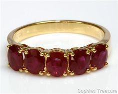 Gorgeous Genuine Ruby 18k Yellow Gold 5 Stone Anniversary Band Ring