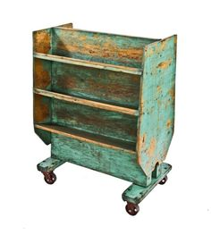 Urban Remains Chicago :: unusual c. 1930's american industrial custom-built distressed green enameled mobile wood factory cart with double-sided angled shelves - Old Industrial Objects & Furniture