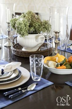 Thankful At Home | Thanksgiving Tablescape from onsuttonplace.com      Like the centerpiece for Fall