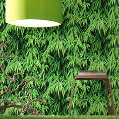 Papier peint vert bambou, pour une ambiance végétale en trompe-l'oeil. Chez Leroy Merlin, 14€ / rouleau