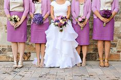 wedding party in skirts + cardigans