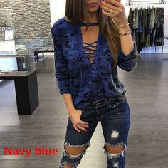 Camouflage Print Women Long Sleeve Slim T-Shirt Fashion V-Neck Lace-up Lady Sexy Tops Army Style Casual Female TShirt Tee Mode Camouflage, Camouflage Fashion, Camo Fashion, Grey Fashion, Chemises Sexy, Camouflage Sweatshirt, Camouflage Hoodies, Hoodie Sweatshirts, Shirts & Tops