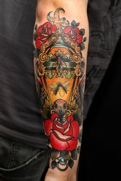 Traditional Lamp n Roses Tattoo On Arm