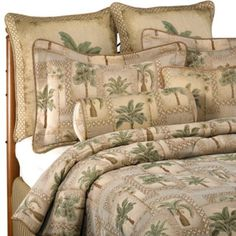 Palm Grove Comforter Set - for the king size bed in our fifth wheel Palm Tree Bedding, Tropical Bedding, Guest Room Decor, Bedroom Decor, Bedroom Ideas, Master Bedroom, Palm Trees Beach, Blanket Cover, Tree Designs