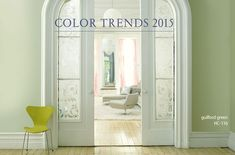 "Benjamin Moore 2015 Color of the Year...Guilford Green. ""A neutral that's natural. A silvery green that works with, well, everything. No worries. No second thoughts. Just a brush, dipped in a can, whooshed on a wall, and a whole lot of happily ever after."" --Ellen O'Neill, Creative Director, Benjamin Moore"