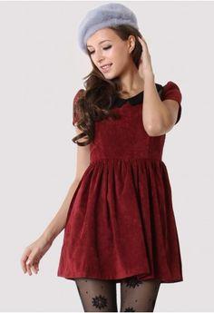 Burgundy Contrast Collar Velvet Dress