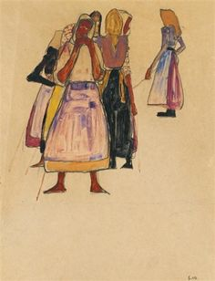 "zzzze: ""Egon Schiele, BÄUERINNEN (Peasant Women),1910: gouache,and watercolor and black crayon on paper; 43.3 x 30.5 cm. """