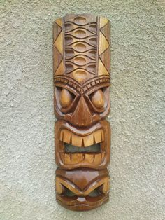 ChiselCraft 50cm Hand Carved Maori Wooden Wall Hanging Tiki Mask / Face Art BAB | eBay