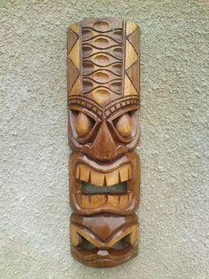 ChiselCraft 50cm Hand Carved Maori Wooden Wall Hanging Tiki Mask / Face Art BAB   eBay