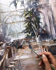Fragment of new watercolor 56x76. Paper W&N. When I saw this cafe, which was in a greenhouse building in Vienna, I realized that I would…