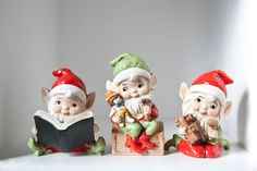 Christmas Elves Set of Three Christmas Decor by TwoStoryVintage