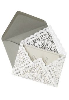 I'm loving these doily inspired envelopes! via StudioSoil