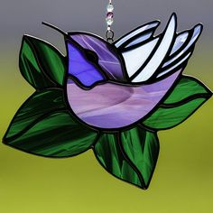 Stained glass purple and blue hummingbird suncatcher, stain glass humming bird ornament on Etsy