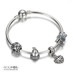 Sweet Dreams Charm Bangle 925 Sterling Silver Shop->http://www.soufeel.com/sweet-dreams-charm-bangle-925-sterling-silver.html