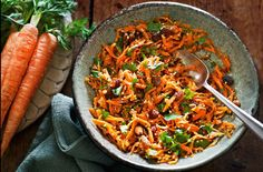 Indian spiced carrot salad. I've had this and it's tasty. Sometimes I add orange juice to the carrot and sultanas. There are many variations! And nothing unhealthy about it!