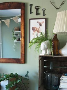 Green and cozy guestroom. Cozy House, Guest Room, Oversized Mirror, Green, Furniture, Home Decor, Decoration Home, Cosy House, Room Decor