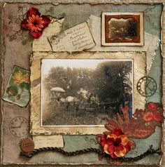 Horse and Buggy Era ~ Stunning heritage page in a rich color palette. Love the rolled, inked and distressed edging.