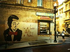 Pee-wee Herman is a comic fictional character created and portrayed by American comedian Paul Reubens. Graffiti Quotes, Graffiti Words, Wall Art Quotes, Pee Wee Herman, Best Street Art, Amazing Street Art, Strange Adventure, Crazy Costumes, Im Lonely
