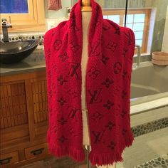 Louis Vuitton  wool scarf 100% authentic  red 94% wool 6% silk. Made in Italy  worn couple times. Super warm and beautiful ️️only Louis Vuitton Accessories Scarves & Wraps