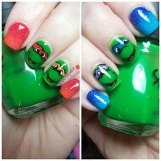 Ninja Turtles nail art...both hands. IG lovepurplepolish